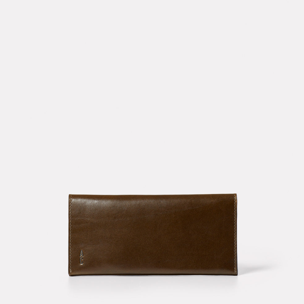 Evie Long Leather Wallet in Olive