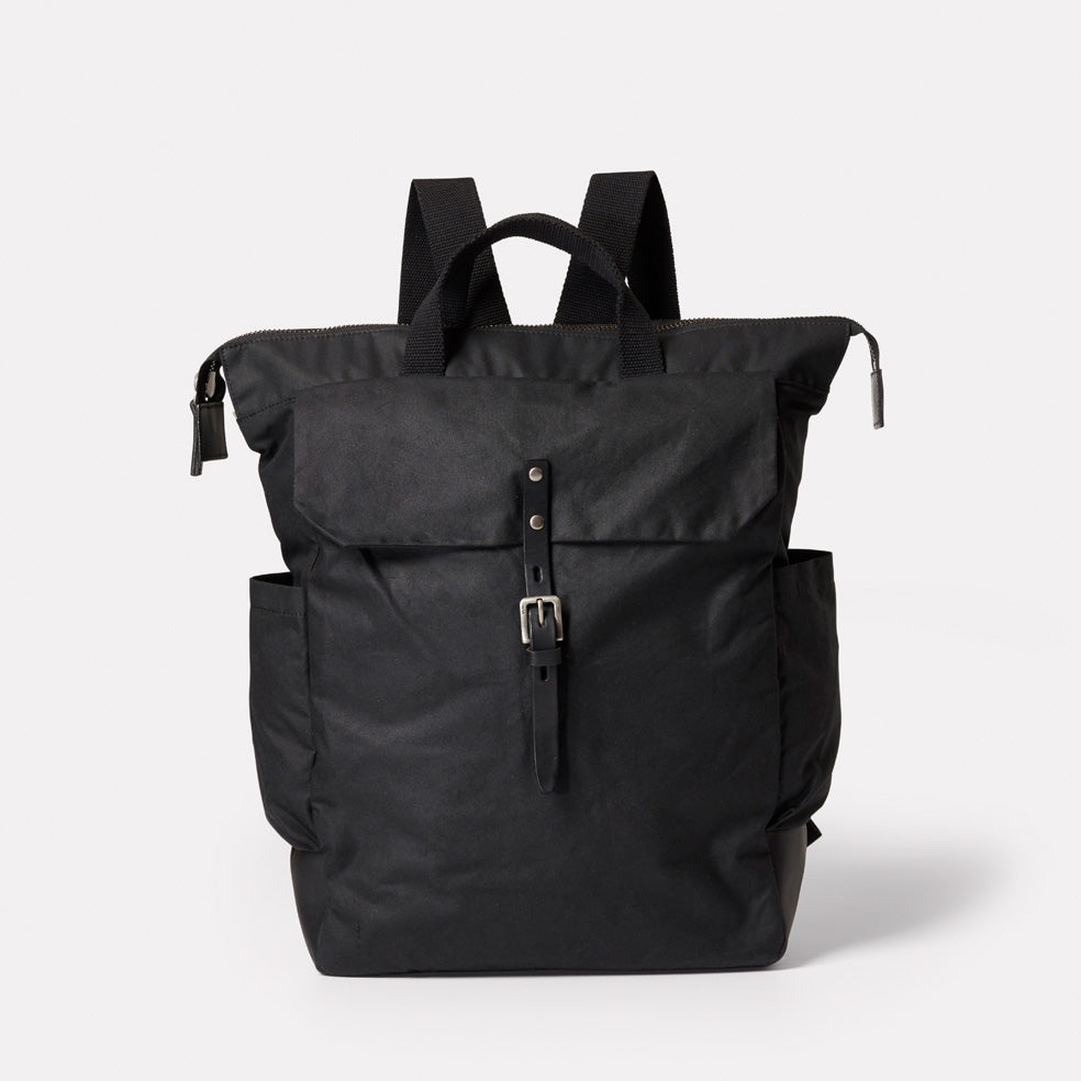 Fin Waxed Cotton Rucksack in Black