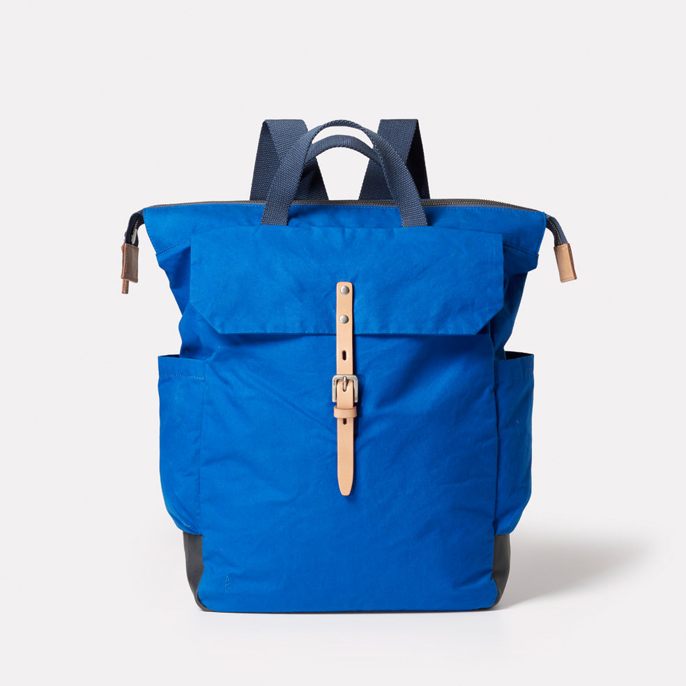 Fin Waxed Cotton Backpack in Cobalt