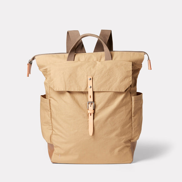 Fin Waxed Cotton Backpack in Sand-RUCKSACK-Ally Capellino-Ally Capellino