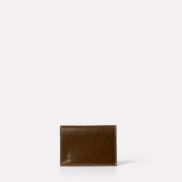 small wallet for coins and cards in dark olive green leather