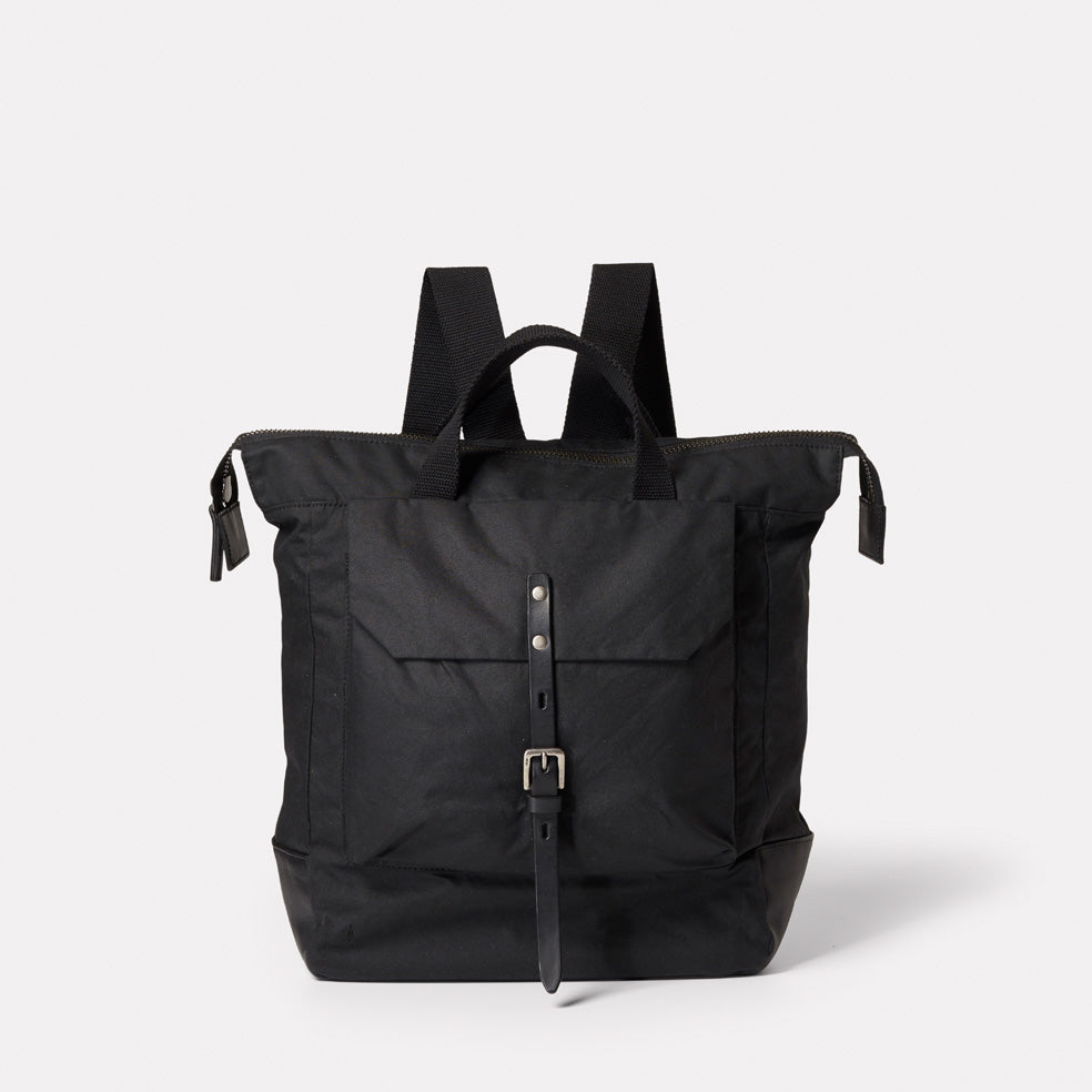 SS19, waxed cotton, mens, womens, unisex, black, black backpack, rucksack, black rucksack, waxed cotton, waxed cotton backpack, waxed cotton rucksack,