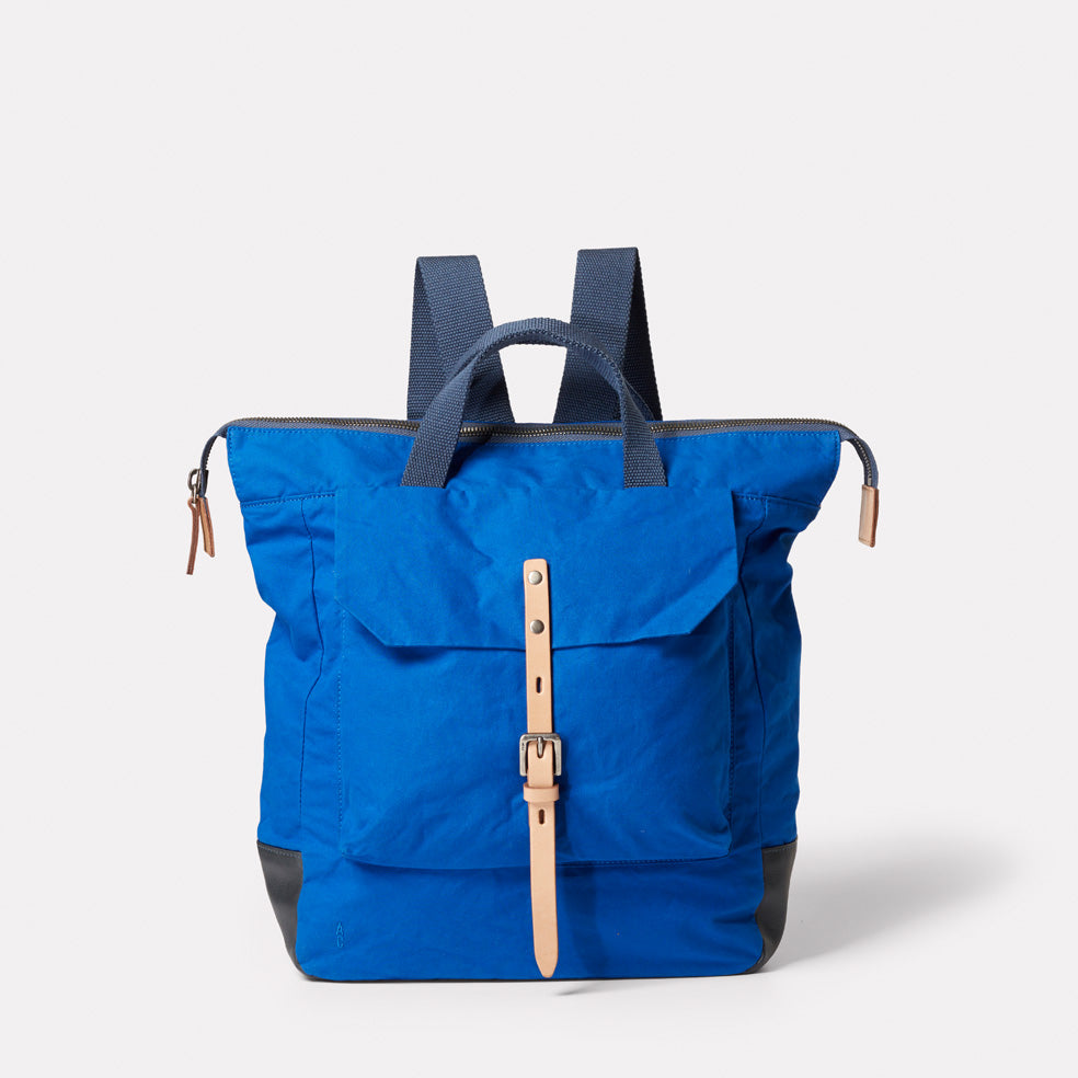 Frances Waxed Cotton Rucksack in Cobalt