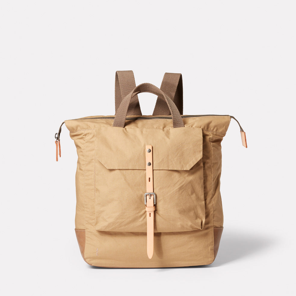 Frances Waxed Cotton Rucksack in Sand