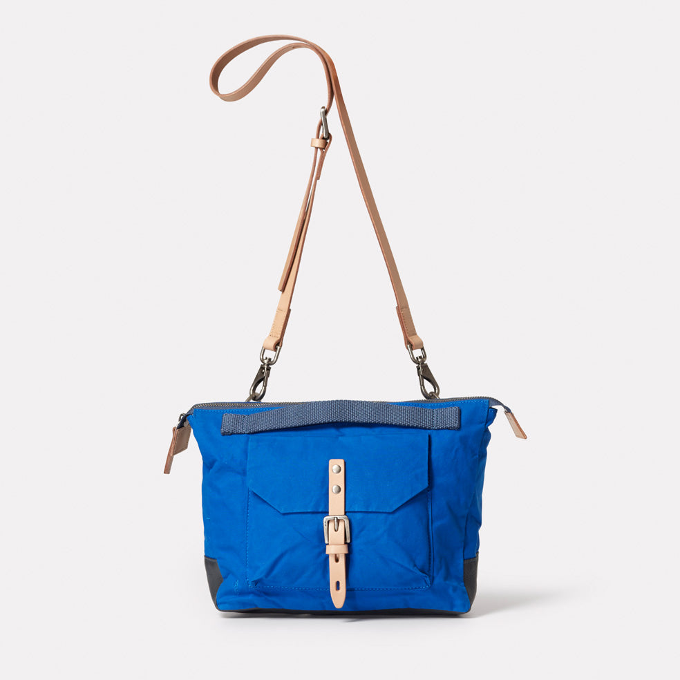 Francesca Waxed Cotton Crossbody Bag in cobalt