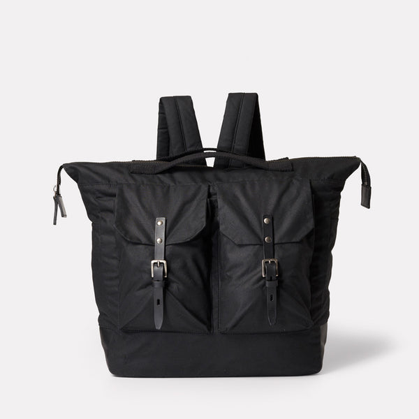 SS19, waxed cotton, mens, womens, unisex, black, black backpack, rucksack, black rucksack, waxed cotton, waxed cotton backpack, waxed cotton rucksack, large backpack,
