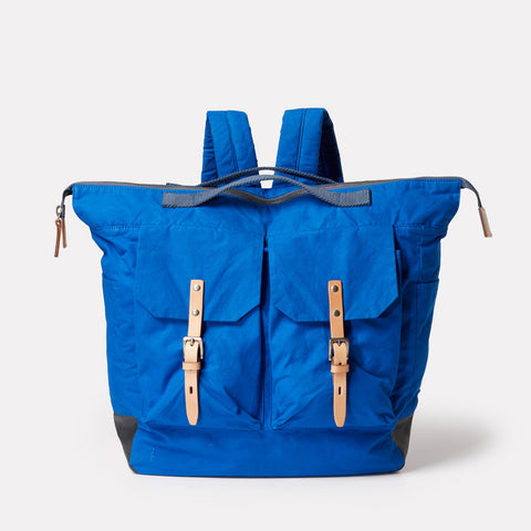SS19, waxed cotton, mens, womens, unisex, blue, cobalt, backpack, rucksack, blue backpack, blue rucksack, cobalt backpack, cobalt rucksack,