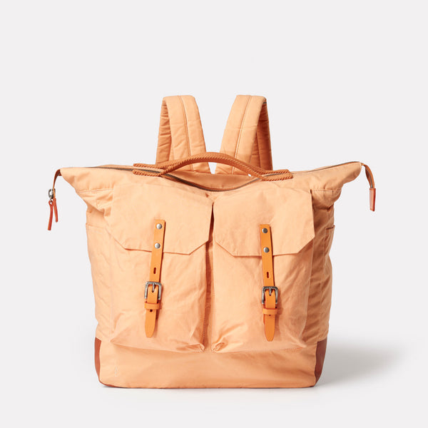 Frank Waxed Cotton Backpack In Plaster
