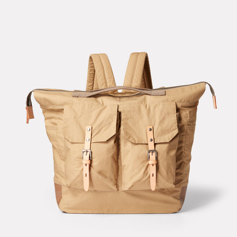 SS19, waxed cotton, mens, womens, unisex, sand, beige, backpack, rucksack, sand backpack, sand rucksack, beige backpack, beige rucksack,