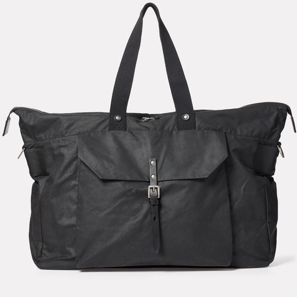 Freddie Waxed Cotton Holdall in Black-HOLDALL-Ally Capellino-Ally Capellino