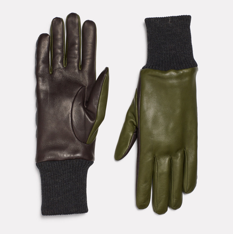 Mens Leather Gloves With Reflective Strips in Green & Dark Grey