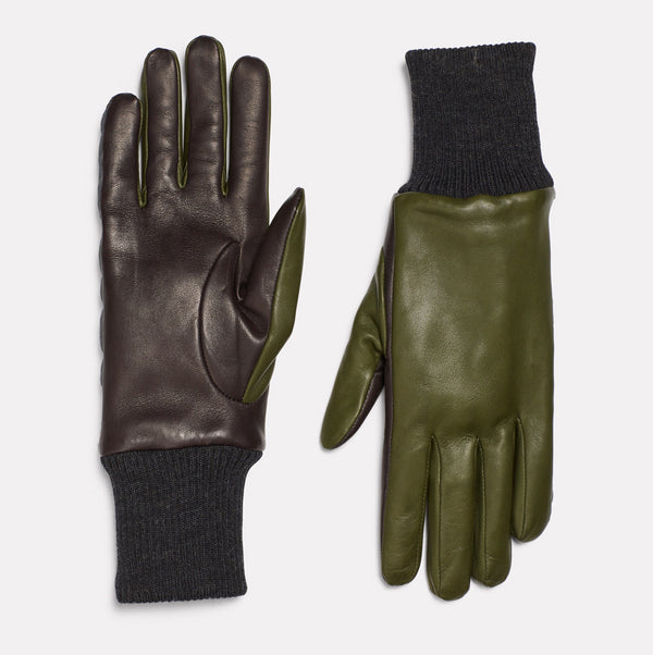 Ladies Leather Gloves With Reflective Strips in Green & Dark Grey-GLOVES-Ally Capellino-leather-green-leather gloves