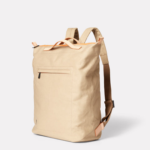 mens rucksack womens backpack in beige. Ally capellino shoreditch, portobello london designer. made from waxed cotton