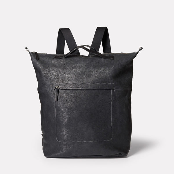 SS19, mens, womens, leather, backpack, rucksack, black, black leather, black rucksack, black backpack, black leather backpack, black leather rucksack, 15 inch laptop, 13 inch laptop,