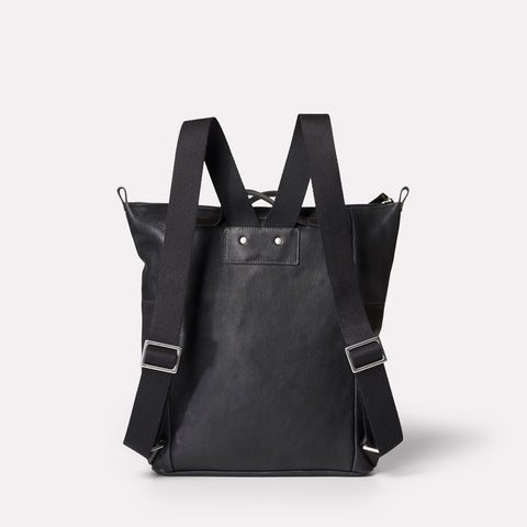 SS19, mens, womens, leather, backpack, rucksack, black, black leather, black rucksack, black backpack, black leather backpack, black leather rucksack, 13 inch laptop,