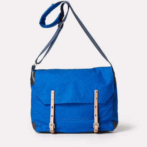 SS19, waxed cotton, mens, womens, unisex, cobalt, blue, satchel, crossbody, blue satchel, blue crossbody bag, cobalt satchel, cobalt crossbody bag, waxed cotton satchel,