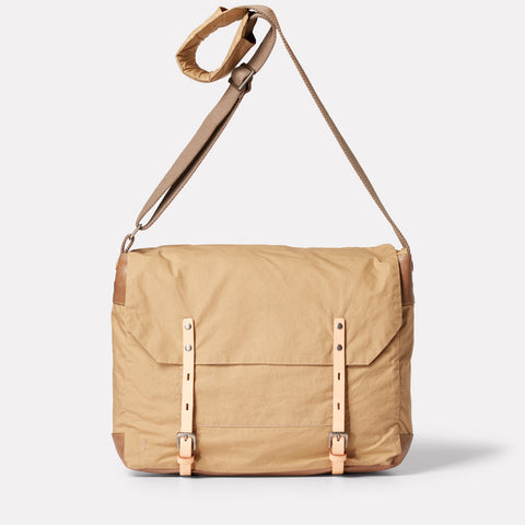 SS19, waxed cotton, mens, womens, unisex, sand, beige, satchel, crossbody, beige satchel, beige crossbody bag, sand satchel, sand crossbody bag, waxed cotton satchel,