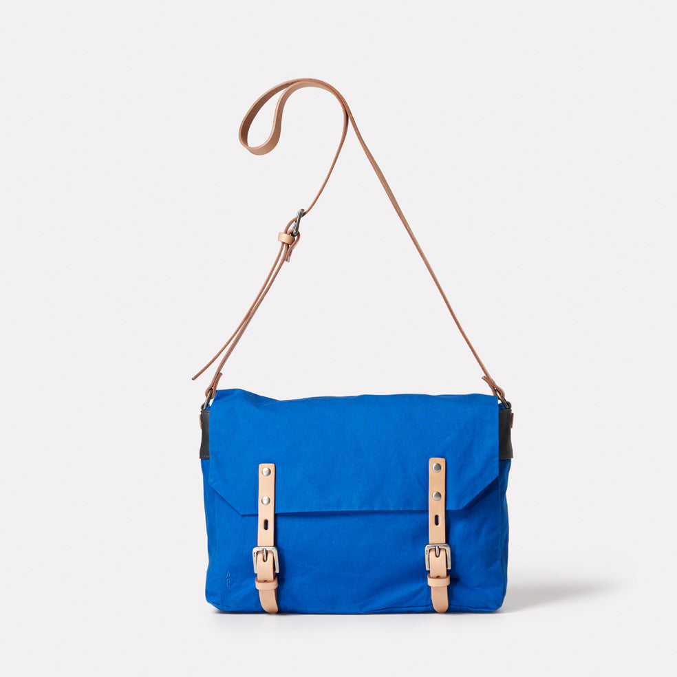 Jeremy Small Waxed Cotton Satchel in Cobalt