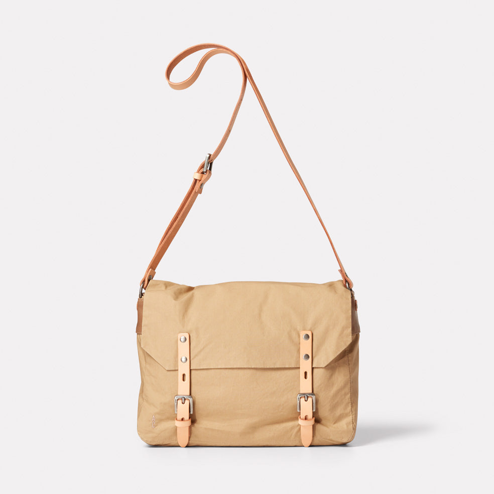 Jeremy Small Waxed Cotton Satchel in Sand