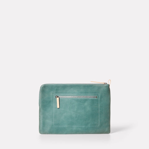 "macbook and laptop case 13"" in leather mint green metallic"