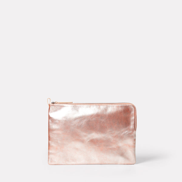 "macbook and laptop case 13"" in leather pink peach metallic"
