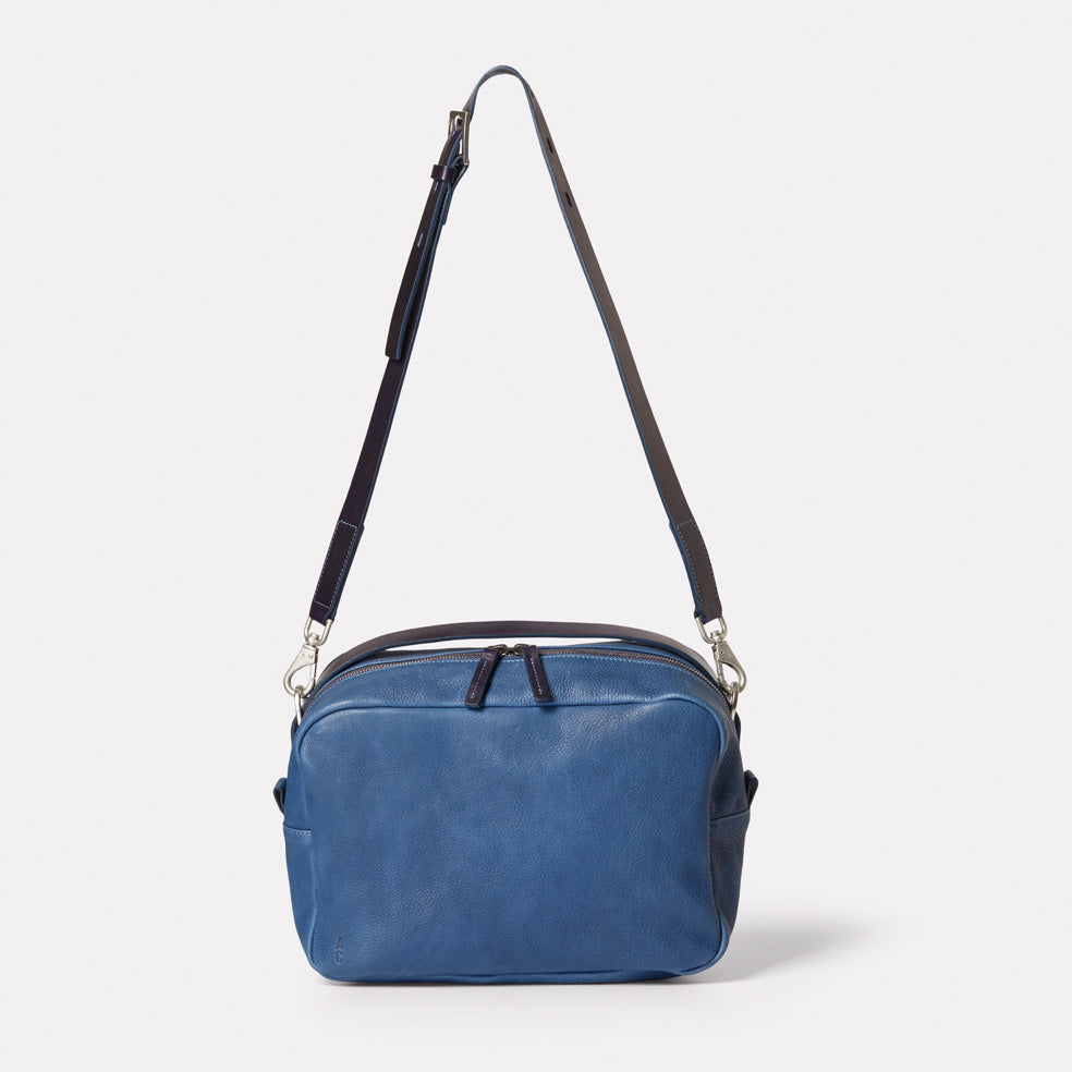 Leila Large Calvert Leather Crossbody Bag in Navy