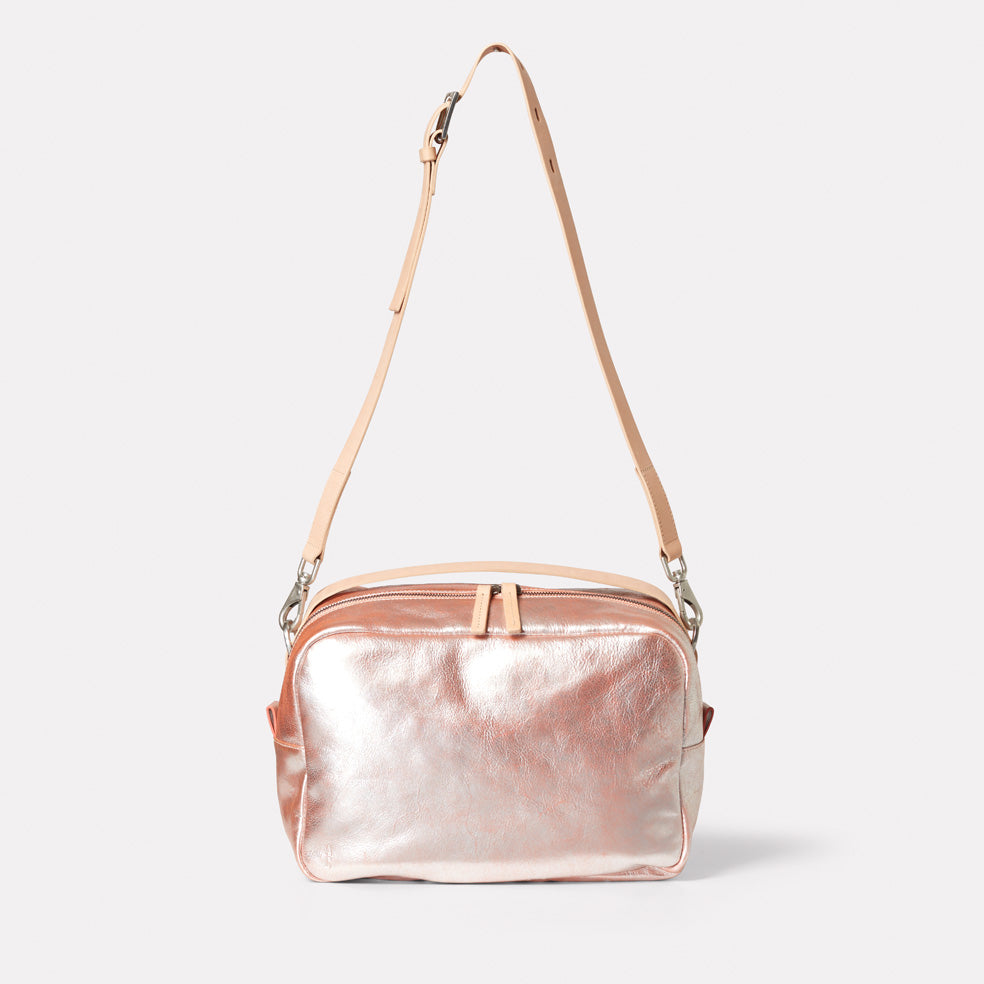 small crossbody hand bag with strap peach metallic leather