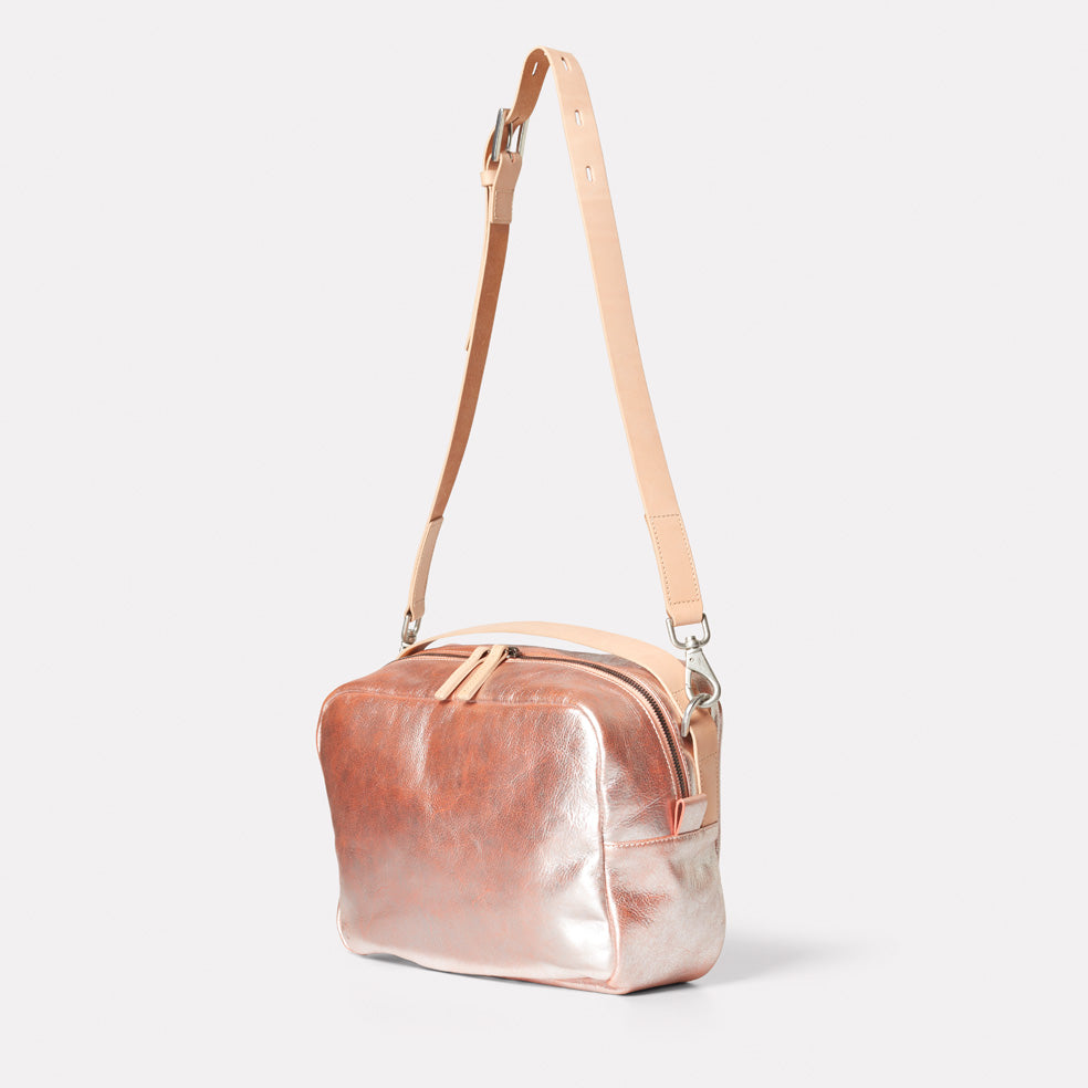 Leila Large Vegetable Tanned Leather Crossbody Bag in Peach – Ally ... 121bccfb52