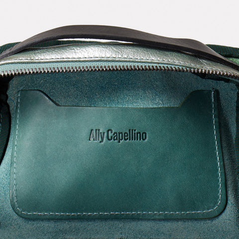 Ally Capellino, Leather, Shoulder bag, leather, mint, green, bag, East London, Portabello Road, Italian Leather, Stitched, Vegetable tanned leather