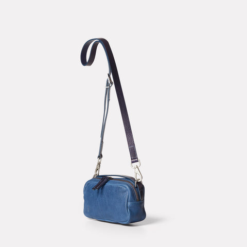 Leila Small Calvert Leather Crossbody Bag in Navy