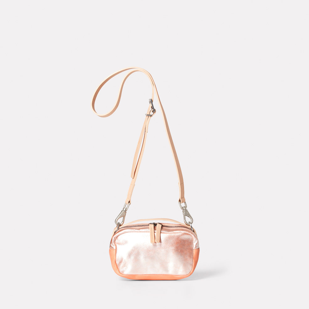 Leila Small Leather Crossbody Bag in Peach