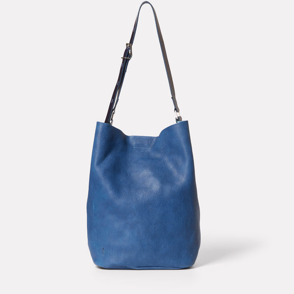 Lloyd Calvert Leather Bucket Bag in Navy