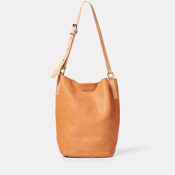 Lloyd Small Calvert Leather Bucket Bag in Light Tan