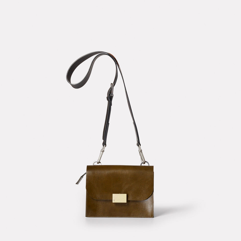 Lockie Lock Up Crossbody Bag in Vegetable Green Olive Tanned Leather ... 4643e00cb8