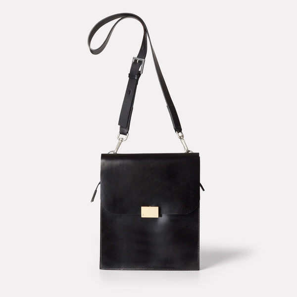 Lori Boundary Leather Crossbody Lock Bag in Black