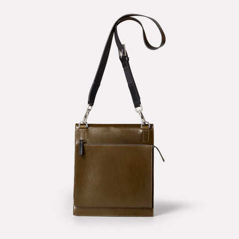 Leather Lock Hand Bag From Shoreditch Bag Company, London in Olive Green