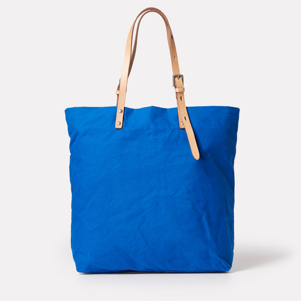 Natalie Waxed Cotton Tote in Cobalt