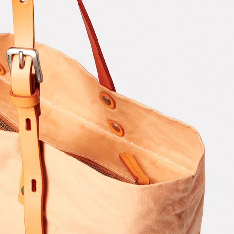 Natalie Waxed Cotton Tote in Plaster
