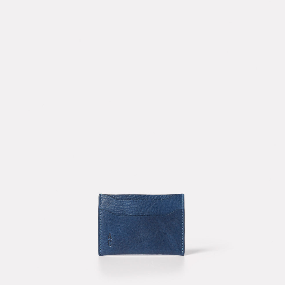Pete Calvert Leather Card Holder in Navy