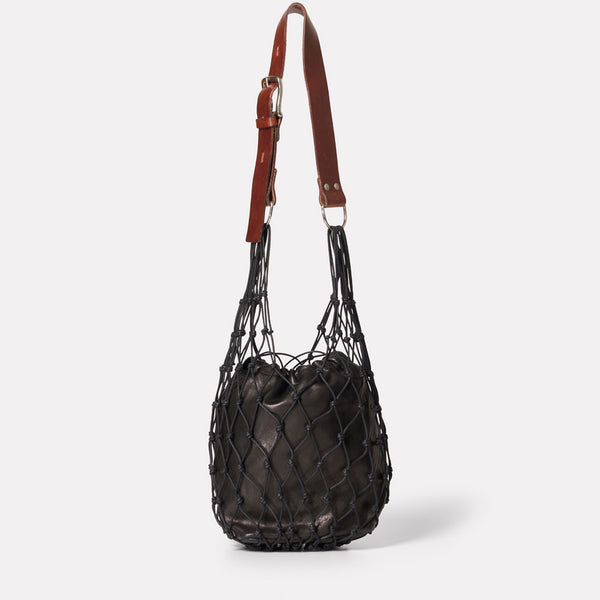 Tami String And Leather Bag in Black