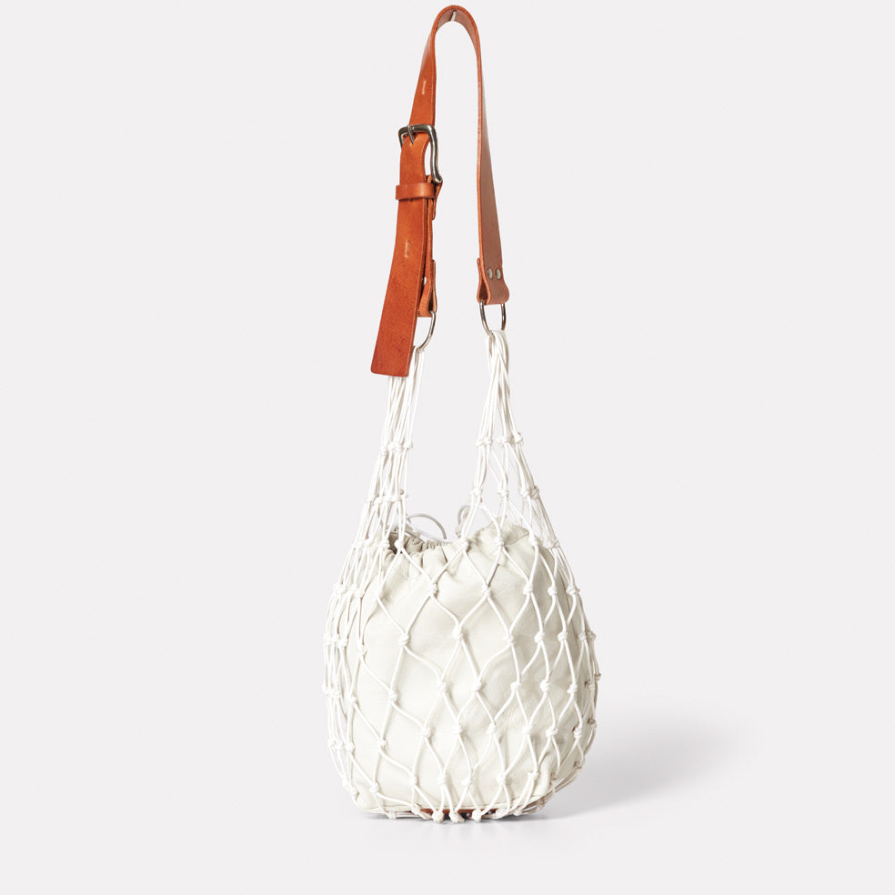 Tami String And Leather Bag in Stone