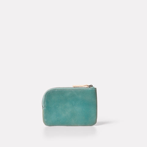 small purse for coins and cards in mint green metallic leather