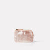 small purse for coins and cards in pink or peach metallic leather