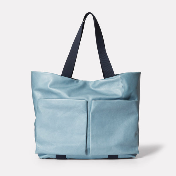 ss19, womens, tote, leather tote, blue leather tote, blue leather,