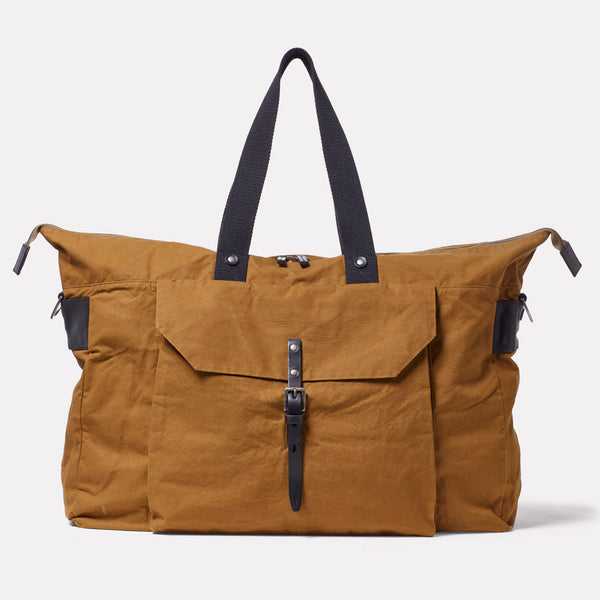 Freddie Waxed Cotton Holdall in Breen Front