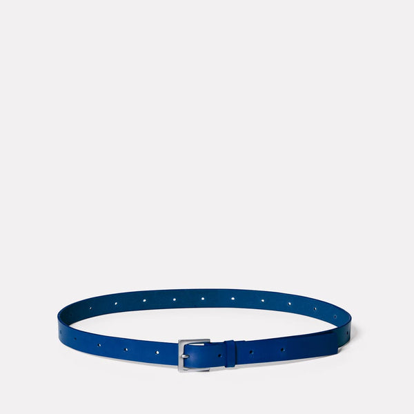Arty Leather Belt in Blue