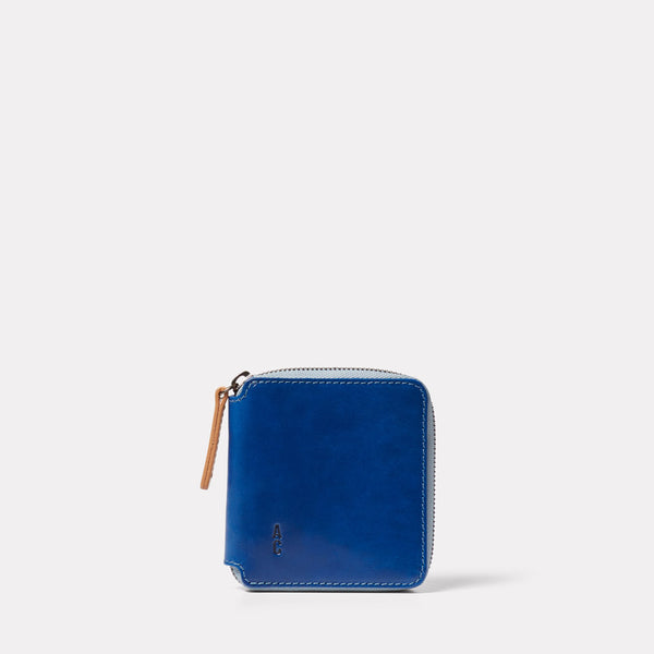 Axel Leather Zip Round Wallet in Blue Front