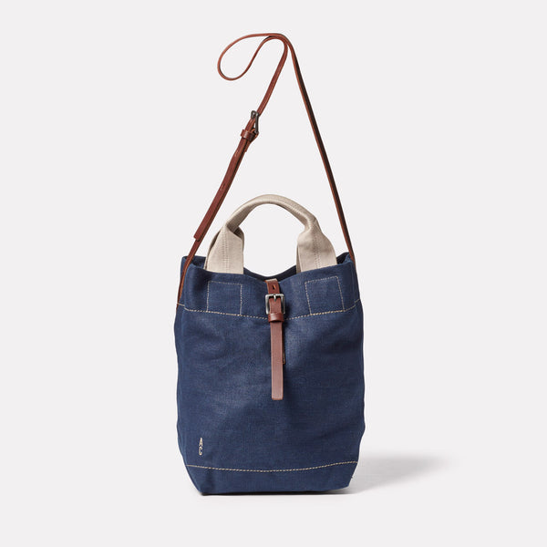 Bob Hemp Bucket Bag in Dark Navy Front