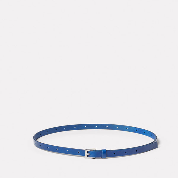Etty Slim Leather Belt in Blue