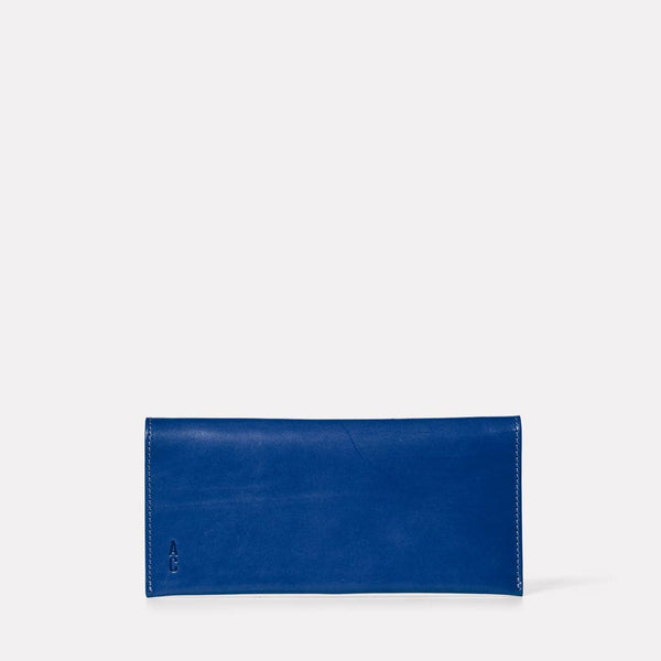 Evie Long Leather Purse in Blue Front